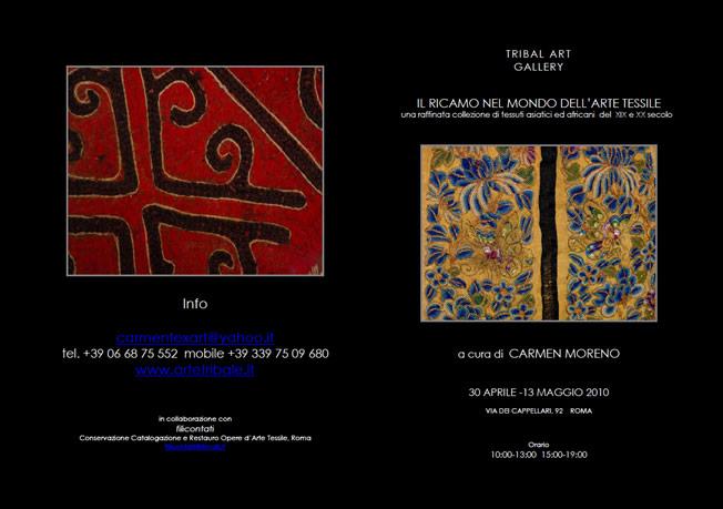 Eventi e Mostre - Il ricamo nel mondo dell'arte tessile - Arte Tribale Associazione Culturale - Spoleto Umbria - Italy - Carmen Moreno