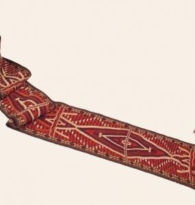 Iolam banda per la Yurta (tenda) Uzbekistan Lana e cotone H32cm x17mt