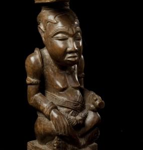 Ndop, scultura del re Shyam a Mbul a Ngoong, Congo, Kuba- Bushoong, 31 x 12
